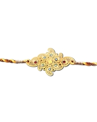 Diviniti 24ct. Gold Plated With Handcrafted Swarovski Swastika Rakhi