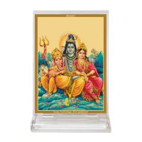 Diviniti Acrylic Car Frame Gold Plated Normal Foil Shiv Parivaar (CF-3)