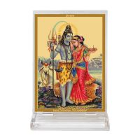 Diviniti Acrylic Car Frame Gold Plated Normal Foil Shiv Parwati (CF-3)