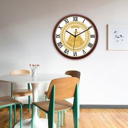 Diviniti Floral Vaishno Devi Darbar Design Roman Dial Analog Wall Clock Brown