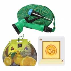 Diviniti  Lemon Ice Car Air Freshener And Om Gayatri Mantra Acrylilc Car Frame With 10 meter multifunctional Spray Water Gun Pipe