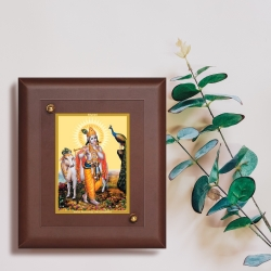 Diviniti MDF Wall Hanging Frame Gold Plated Normal Foil Krishna with Cow (MDF-S2)
