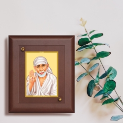Diviniti MDF Wall Hanging Frame Gold Plated Normal Foil Sai Baba Blessing (MDF-S2)