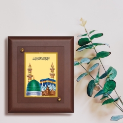 Diviniti MDF Wall Hanging Frame Gold Plated Normal Foil Mecca Madina (MDF-S2)