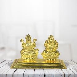 Pujashoppe Lakshmi Ganesha Statue Gold