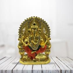 Pujashoppe Gold Plated Sitting Ganesha Statue